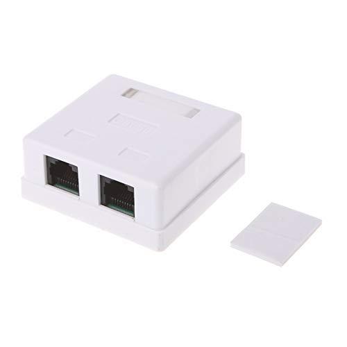 Conectores RJ45 Caja de conexiones CAT5e Conector de red 2 puertos Cable de extensión de escritorio Caja Ethernet Blanco C26 - (Longitud del cable: Otro)