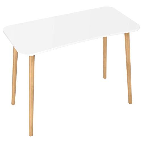 Homfa Scrivanie Ufficio Tavolo PC Tavolino da Studio Postazioni di Lavoro Tavolo da Pranzo in MDF e bambù Bianco 75 x 50 x 100 cm