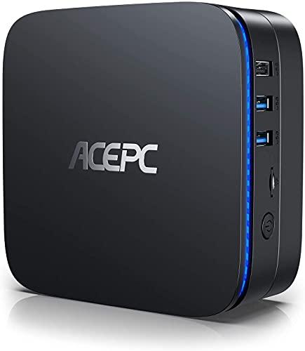 Mini PC Windows 10 Pro 8GB RAM 256GB ROM Intel Celeron J3455 Micro Desktop Computer, Dual-HDMI Unterstützung für mSATA 2,5 Zoll SSD/HDD, 4K, Dual Band WiFi