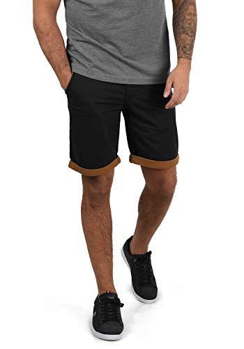 Blend Neji Herren Chino Shorts Bermuda Kurze Hose Mit Gürtel Aus 100% Baumwolle Regular Fit, Größe:3XL, Farbe:Black (70155)
