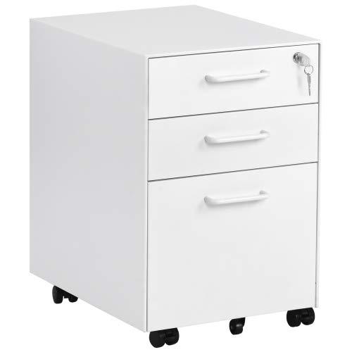 64Gril Bürocontainer aus Stahl Kabinett, Rollcontainer mit Schloß, 3 Abshcließbare Schubladen, 5 Räder Aktenschrank für Hause & Büro, Büroschrank Weiß, vormontiert, rechtseckig (Weiß)