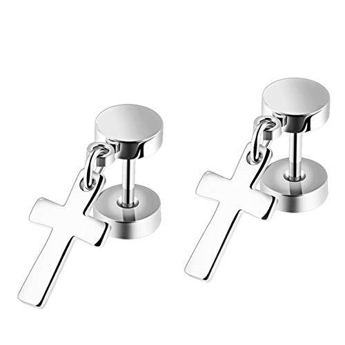 AIUIN 1 par Pendientes de Hombres Cruz Colgante Pendientes de Acero de Titanio Pendientes de Botón Hermosa