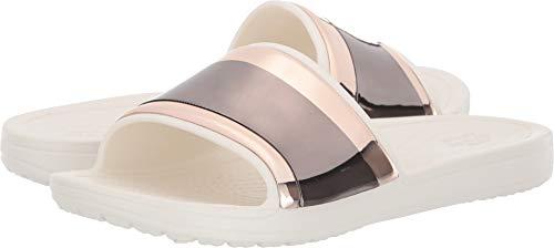 Crocs Damen Sloane Metalblock Slide W Dusch- & Badeschuhe, Pink (Multi Rose/Oyster 6pg), 42/43 EU