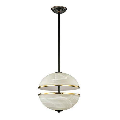 Lámpara colgante semicircular creativa Lámpara colgante de hierro posmoderna Lámpara colgante de techo decorativa Pantalla de cristal E27 Interruptor de botón Sala de estar Dormitorio