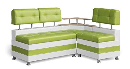 Eckbank Latte Essecke Sitzbank Olivgrün Modern Kunstleder mit Ablage und Stauraum