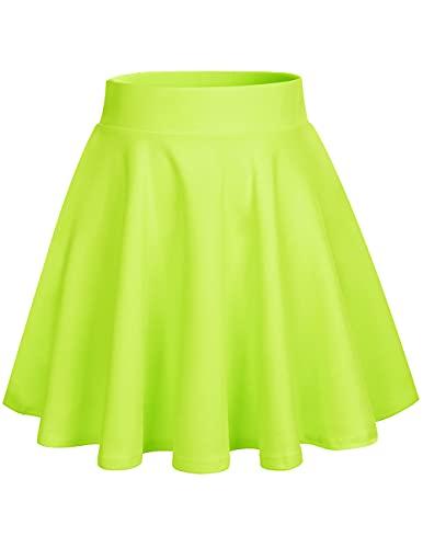 DRESSTELLS Falda para mujer Mini falda versátil de línea A básica acampanada falda de patinador, Amarillo fluorescente, Large