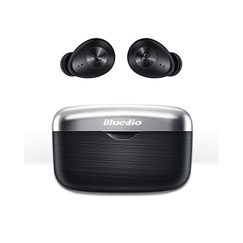 Bluedio TWS Wireless Earbuds with Qualcomm Chip HiFi Low Latency True Wireless Earbuds with Charging Case Touch Control Face Recognition, 30H Standby Waterproof for Sport, Game, Work, Call(Black)