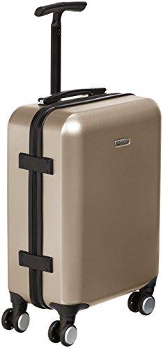 Amazon Basics - Trolley a 4 ruote multidirezionali, metallizzato, bagaglio a mano, 55 cm, Oro