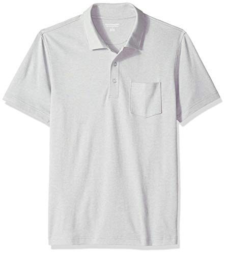 Amazon Essentials Herren-Poloshirt, schmale Passform, mit Brusttasche, aus Jersey, Light Grey Heather, US S (EU S)