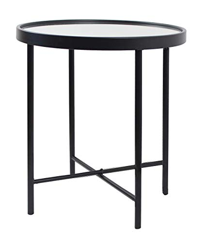 Aspect Alario Top Round Side/End Lamp Table (42.5 diax47cm, Black/Mirror), Steel