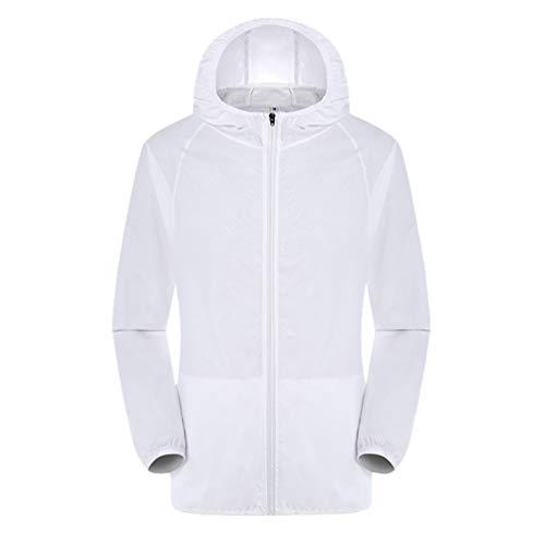 LvRaoo Femmes Léger Respirant Veste Protection Solaire Imperméable Respirant Manches Longues Sweat à Capuche (Blanc, CN XL)