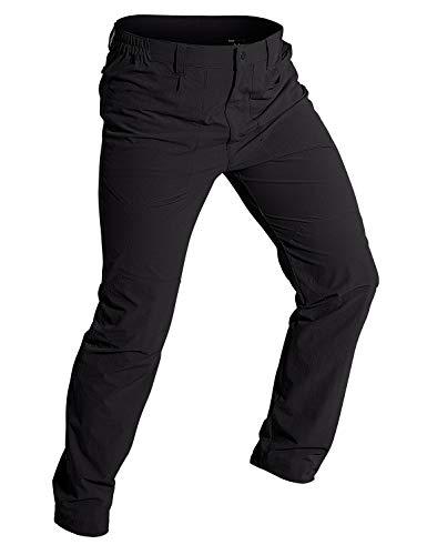 Wespornow Herren Schnelltrocknende Wanderhose Trekkinghose Outdoorhose Roll-up, Leichte Dehnbare Camping Reisekletterhose mit 5 Reißverschlusstaschen (Tiefschwarz, L)