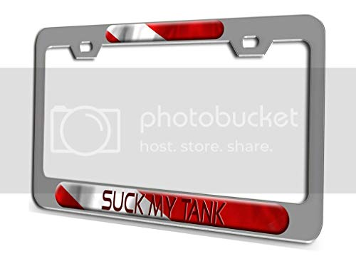 Makoroni - Suck My Tank Scuba Diving Ch 3D Metal License Plate Frame Auto SUV Truck Tag Holder, a19