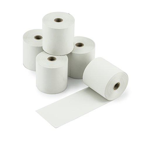 5 Thermorollen für Kassensysteme weiß, 57x25x12 | Bondrucker | EC - Cash Geräte | Kreditkarten-Terminal (Breite: 5,7 cm - Länge: 25 m - Hülsen-Durchmesser: 1,2 cm - Außen-Durchmesser 4,5 cm) von Pokornys