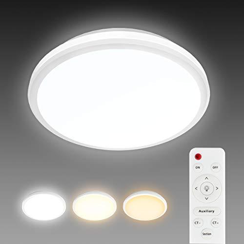 T-SUN 24W Lámpara de Techo Regulable, IP54 Impermeable, LED Plafón 1440LM para Dormitorio Cocina Sala de Estar Comedor Balcón (Color de Luz Regulable 3000K a 6000K, Brillo Ajustable 10% a 100%)