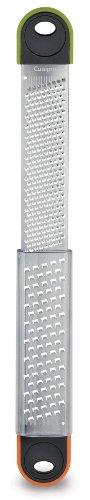 Cuisipro Dual Deluxe Reiben, Edelstahl-Klinge und Rahmen, PP/TPR-Griff und Reibenende, PCTG-Reibenabdeckung, 35,6 x 7 x 1,75 cm