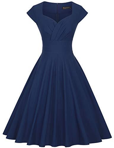 GownTown Womens Dresses Party Dresses 1950s Vintage Dresses Swing Stretchy Dresses Darkblue Medium