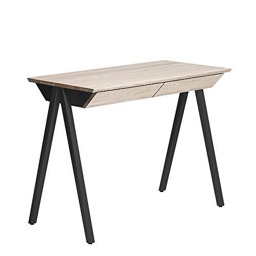 BORCAS Vogel Escritorio | 100 x 77 x 50 cm | Mesa de Oficina Moderna de Roble Blanqueado | con 2 cajones | Fabricado en UE | para Estudio, Oficina | Color Negro