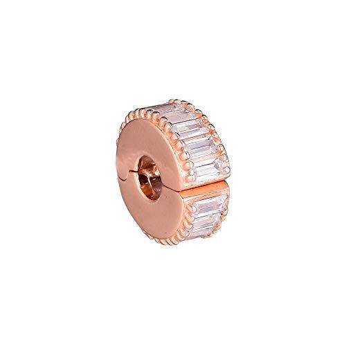 LIIHVYI Pandora Charms para Mujeres Cuentas Plata De Ley 925 Joyería De Cadena De Serpiente con Clip De Mación De Hielo Rosa Compatible con Pulseras Europeos Collars
