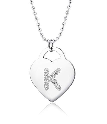 Besteel Acero Inoxidable Carta Inicial Collar De Corazon Collar Mujer Chica con Collar de CZ Cadena de Abalorios Largo 90...