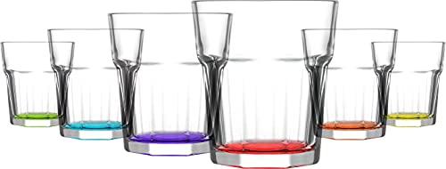 Set de 6 Vasos Altos de Colores Pastel, Vasos de Cristal Multicolor, 365 ml de Capacidad