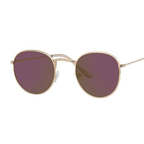 HAOMAO Gafas de Sol Redondas con Revestimiento de Espejo Colorido para Mujer Gafas con Montura metálica para Mujer Goldpurple