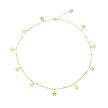 S.J JEWELRY Women Simple Delicate Full Moon 14K Gold Plated/Rose Gold/Silver Plated Layered Pendant Handmade Star Chokers Necklaces-CK-Star