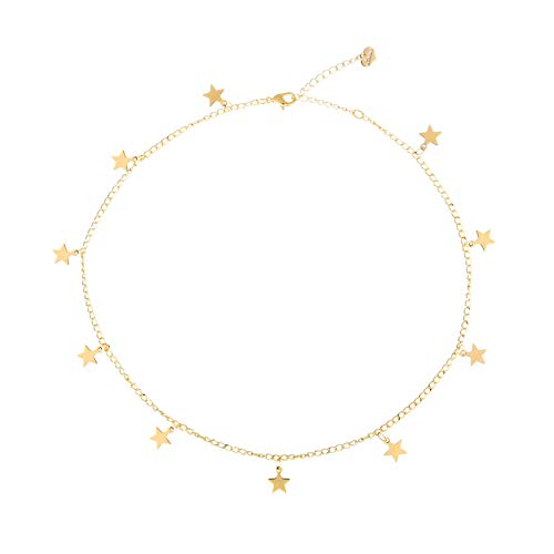 S.J JEWELRY Womens Simple Delicate Full Moon 14K Gold Plated/Rose Gold/Silver Plated Layered Pendant Handmade Star Chokers Necklaces CK-Star