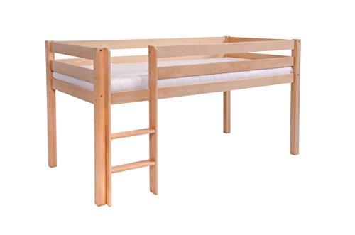 Hochbett für Kinder, Halbhochbett, Kinderbett 90 x 200, 100% aus Buche massiv, inkl. Lattenrost und Absturzsicherung (Ohne Textilien, Natur)