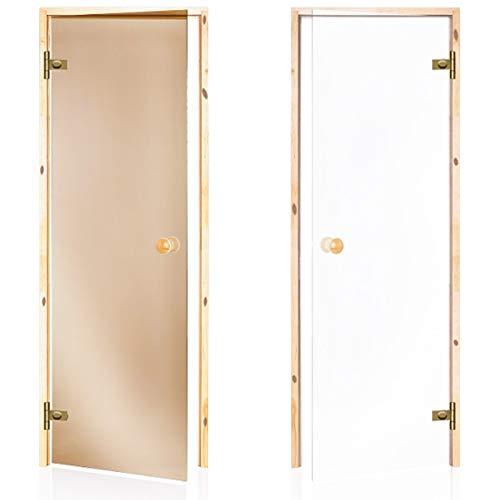 Saunatür 60x190, 60x200, 70x190, 70x200, Rahmen: Pinie, Glasfarbe: Transparent, Bronze - Glasfarbe: Bronze, 70 x 190