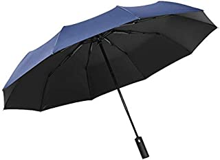Windproof Travel Folding Golf Umbrella Auto Open Close Button and Upgraded Comfort Handle, Lightweight 10 Ribs Automatic Canopy Compact with Light (Blue)