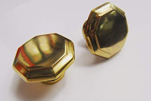 Gedotec Möbel-Griff universal Tür-Knopf markant Küchen-Griff achteckig - Pluto | Messing poliert | Vollmaterial massiv | Ø 25 mm | 1 Stück