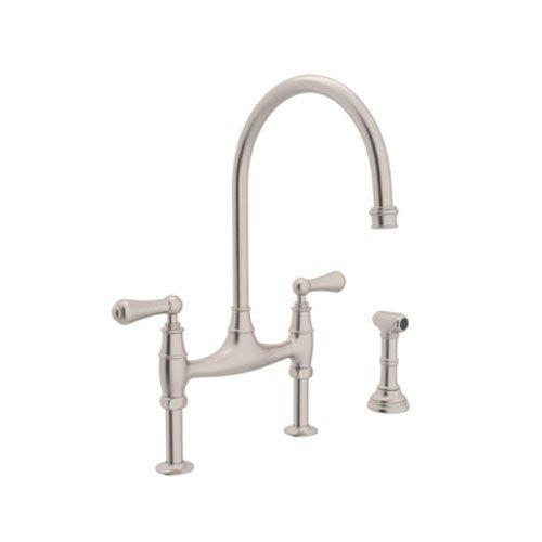 Rohl U.4719L-STN-2 Perrin and Rowe Deck Mount Bridge Kitchen Faucet with Sidespray with High C Spout and Metal ALSace Levers, Satin Nickel by Rohl