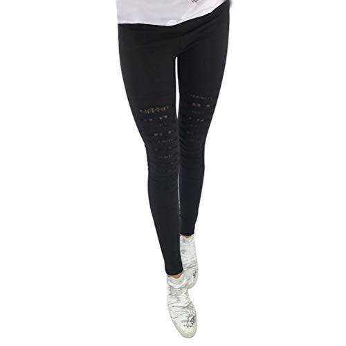 Leggings femmes haute taille pantalon stretch sexy dentelle leggings décoratifs avec des trous - taille l (noir)
