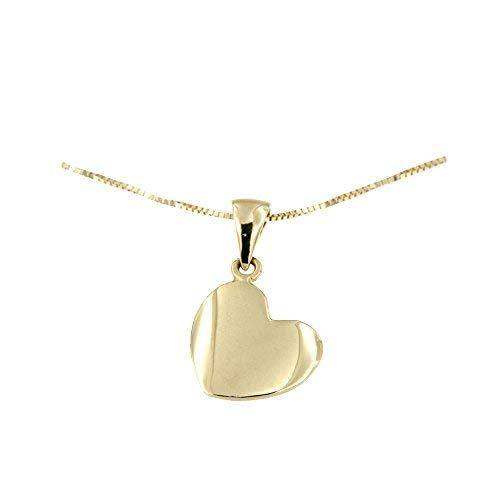 Lucchetta - Damen-Halskette 14 Karat 585 Gelbgold Anhänger Herz - Gold Kette 42cm