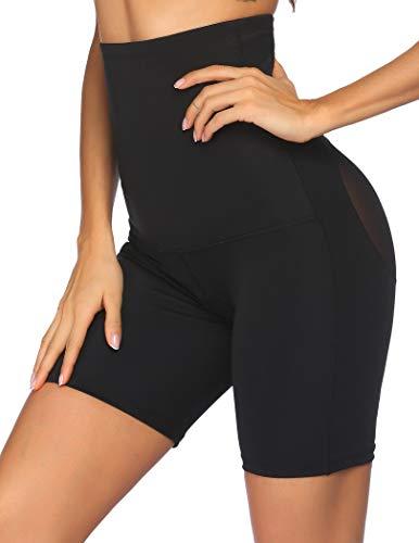 Ekouaer Womens Tummy Control Shapewear Thigh Slimmer Shaper Shorts Waist Trainer Hourglass Figure(Black,S)