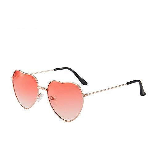 YUEMING 1 par de gafas gafas de sol de moda Gafas de sol en forma de corazón Gafas de sol de corazón de durazno Gafas de Sol de Hippies Marco de metal (Rojo)
