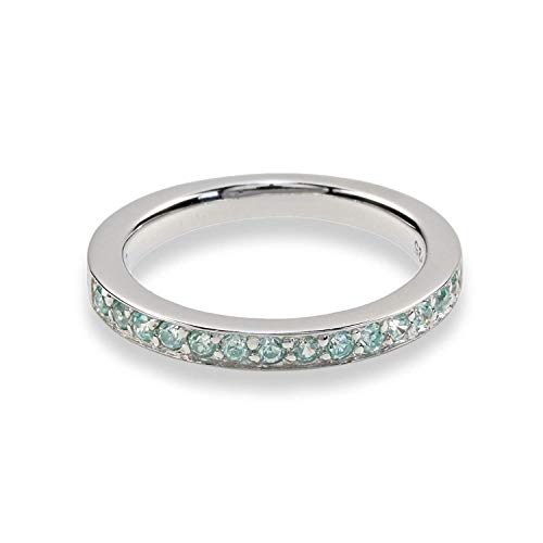 Merii Memory-Ring 925 Sterlingsilber rhodiniert syn. Aquamarin M0335R/90/76/60