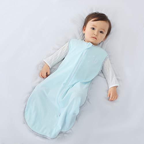 DROMEZ Saco de Dormir sin Mangas de Algodón para bebé,Bolsa de Dormir Súper Suave y Cálido,Mameluco Pijamas Azul,para Niños/Niñas/Unisex,12~18 months/81cm