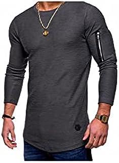 Wanxiaoyyyinnscx Long Sleeve Shirts, Men Solid Color Long-sleeved T-shirts Mens Fake Zipper Personality Style Tshirt Male ...