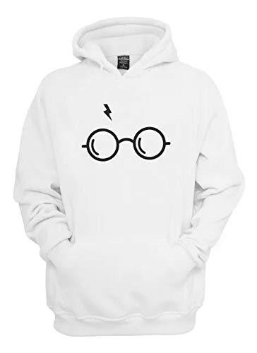 Moletom Blusa Canguru Harry Potter Óculos (M, Branco)