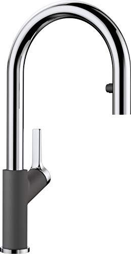 BLANCO Carena-S Vario, Küchenarmatur - Einhebelmischer, mit verdeckter ausziehbarer Brause mit Umschalt-Funktion, Wasserhahn für die Küche, Silgranit-Look, Felsgrau-Chrom, Hochdruck, 1 Stück, 521359