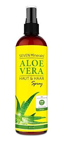Aloe Vera SPRAY für Haut & Haar - 99% Bio, 355 ml - 100% Natürlich, Rein & Ohne Zusatzstoffe - Extra Stark – OHNE VERDICKUNGSMITTEL, zieht schnell ein ohne Rückstände – aus ECHTEM SAFT, NICHT PULVER
