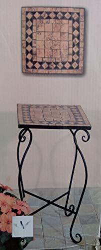 TLW direkt Marokkanischer Mosaik-Tisch terrakotta Tischplatte aus Steinzeug mit geschwungenem Metallgestell ca. 35x35x60cm