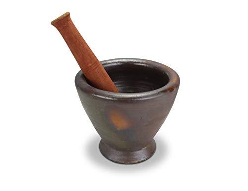 Farang Mörser und Stößel aus Steingut, Thai/Laos, 21,5 cm, Kruk - Tonmörser
