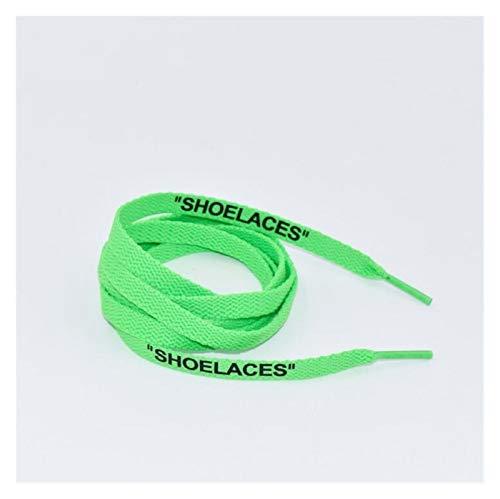 XPWOZ Los Cordones de algodón de impresión de Letras Plana Cordones 120cm / 140cm Deportes Cordones de los Zapatos (Color : Light Green, Size : 140CM)