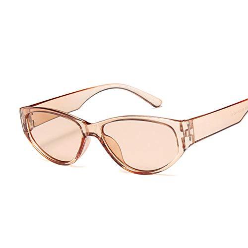 Gafas de sol ovaladas pequeñas de la vendimia de las mujeres sombras de metal transparente marco lente gafas de sol mujer UV546 rosa gafas de sol Golf Pesca Ciclismo Senderismo Gafas-Dorado
