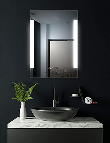 HOKO® Dortmund 40647673 Miroir de salle de bain à LED avec horloge numérique 60 x 80 cm Classe énergétique A+