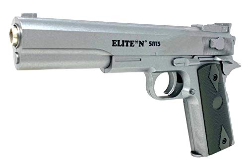 Softair Gun Set Airsoft Federdruck Pistole 19cm Inkl Magazin 0,49 Joule Silver