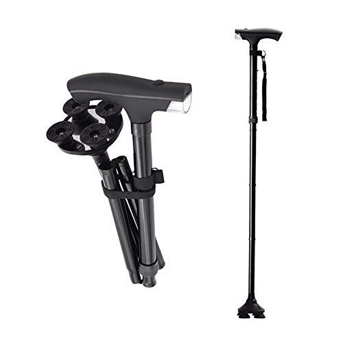 SGSG Bastón de Caminar Plegable LED Profesional, con luz LED, Base cuádruple pivotante, bastón de Caminar Ajustable para Caballero Anciano o Dama de aleación de Aluminio